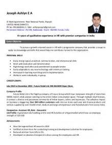 Resume Format For Hr by Resume Hr Generalist
