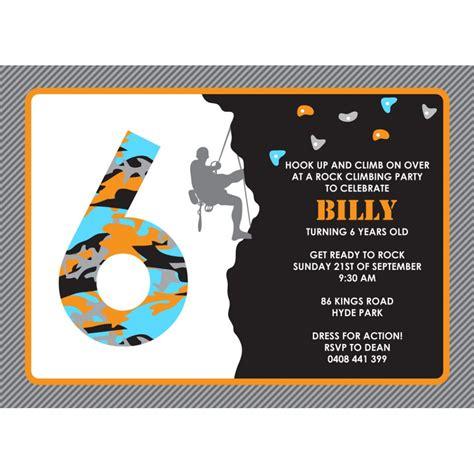 printable birthday invitations rock climbing rock climbing birthday party printable invitation kids