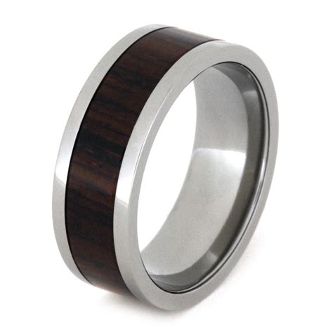 Wedding Bands Wood by Wood Wedding Band Titanium Ring With Cocobolo Wood Inlay