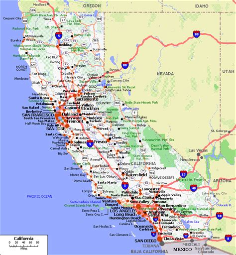 california map with cities maps of california