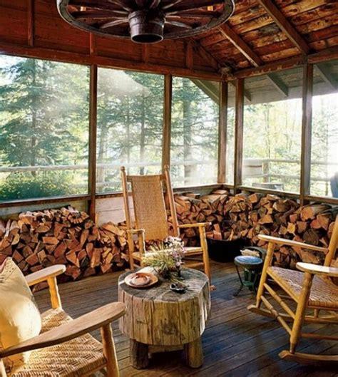 rustic screened   porch   cabin porches