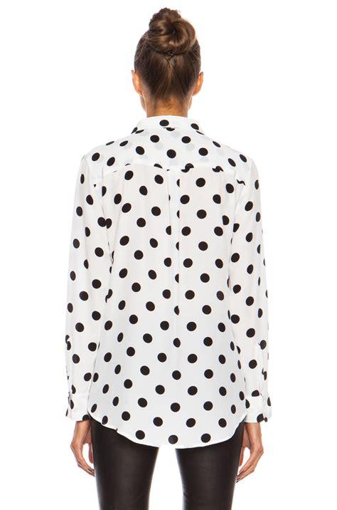 White Dot Top Y222 equipment slim signature polka dot silk top in white lyst