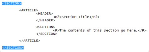 html section tag a simple one column layout with html5