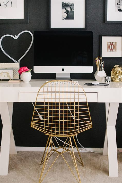 black and gold desk chair touring the home of our ggathome tour finalist