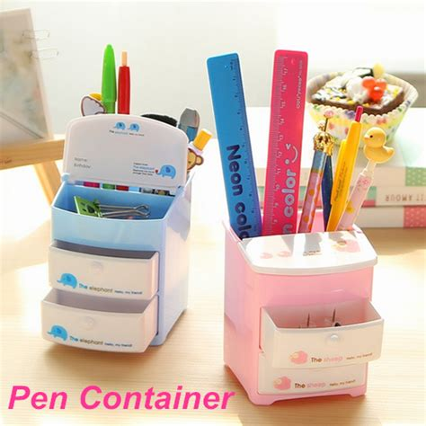 Tempat Pensil Kawaii mini plastic pen holder two layer drawer pencil holder