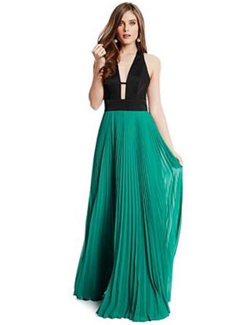 saravia pleated maxi dress guess ca