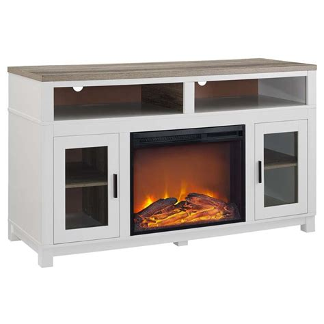 white tv stand with electric fireplace electric fireplace tv stand in white 1774296com