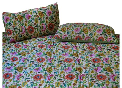 Cotton Filled Quilt by Anil S Garden Cotton Filled Kantha Quilt