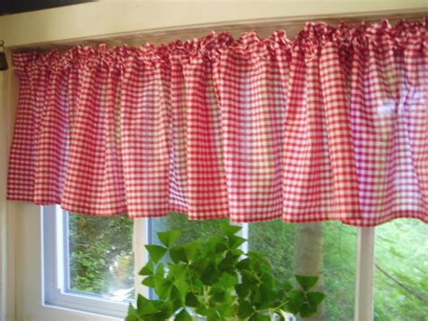 red checked curtains red gingham kitchen caf 233 curtain unlined or with white or