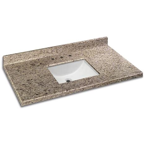 Home Depot Granite Vanity Top by Pegasus 49 In W Granite Vanity Top In Quadro With White