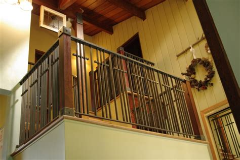 Baby Gate For Bottom Of Stairs With Banister Stone Wood Amp Steel Interior Railing Traditional