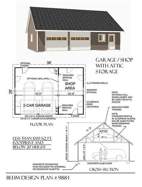garage and shop plans 2 car suv garage with shop and attic plan 988 1 38 x 26