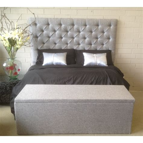 king size upholstered high rise bed head grey plumindustries