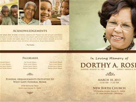 photoshop program template in loving memory funeral program template 005 by