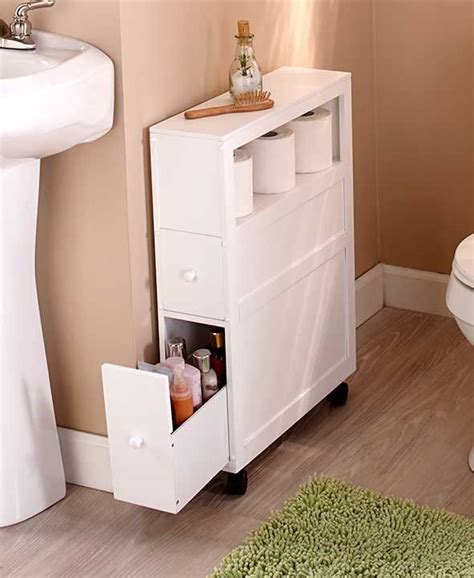 Slim Bathroom Storage Cabinet Rolling 2 Drawers Open Shelf Small Bathroom Storage Drawers