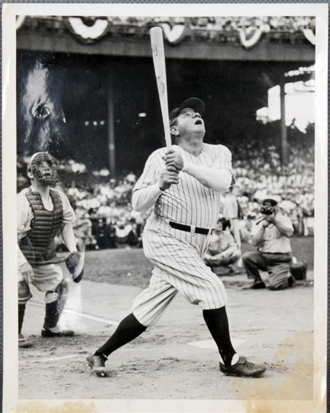 babe ruth swing 1943 war bond jubilee game at polo grounds new york