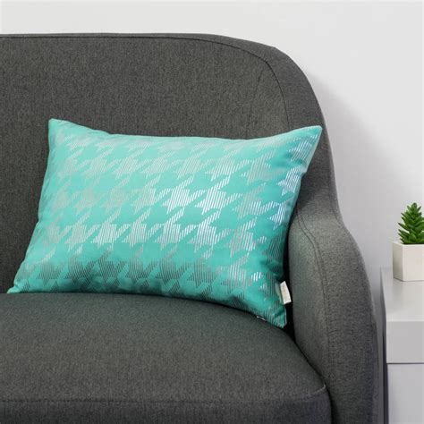 Original Buff Nod Teal metallic dogtooth cushion in teal and silver by penelope notonthehighstreet