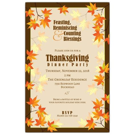 templates for thanksgiving invitations fall leaves thanksgiving invitations paperstyle