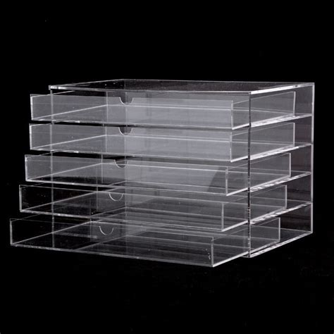 Clear Makeup Drawer Organizer by 5 Drawer Makeup Cosmetics Organizer Clear Acrylic Drawers