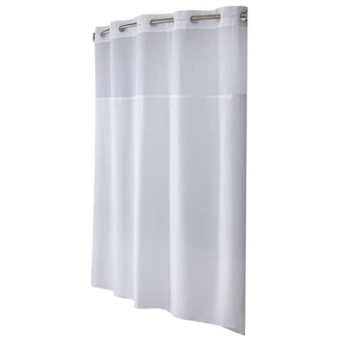 Hookless Polyester White Solid Shower Curtain In The Shower Curtains Liners Department At