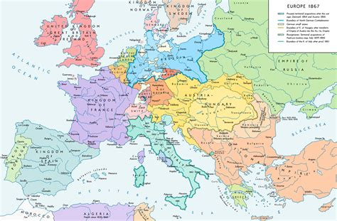map of europe in german europe in 1867 after the formation of the german
