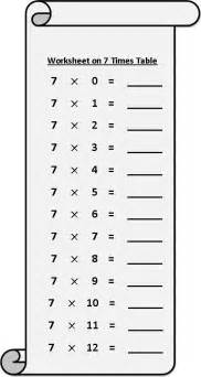 worksheet on 7 times table printable multiplication