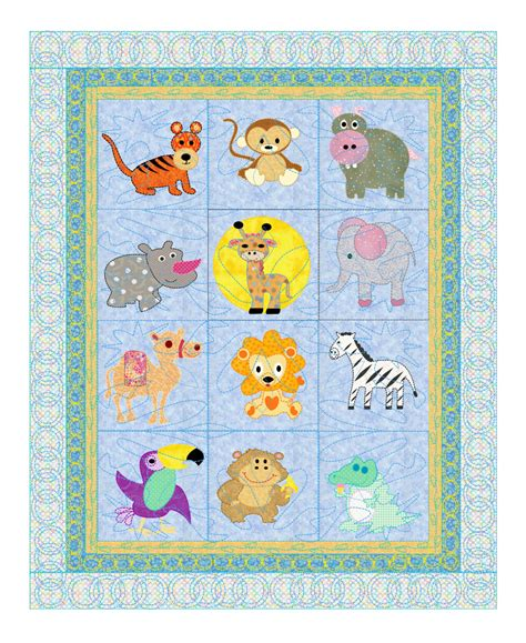 Animal Baby Quilt Patterns baby quilt pattern animals safari pets 12 animals from the