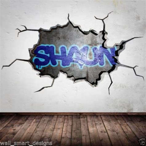 graffiti stickers for walls personalised graffiti name cracked 3d wall by wallsmartdesigns 163 12 99 kamil room