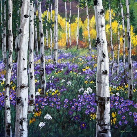 Acrylic Painting Textures - mountain meadow aspen tree birch paintings birches art trees by jennifer vranes