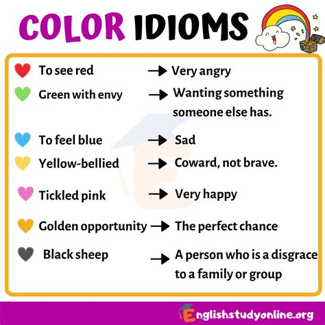 commonly used color idioms in study