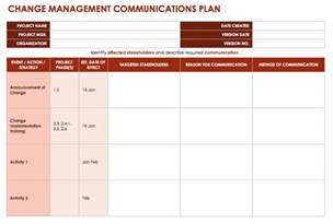 change communication plan template free change management templates smartsheet
