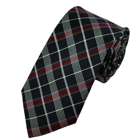 navy white blue tartan style checked silk tie from