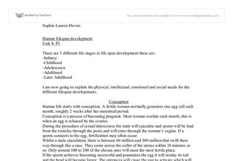 Lifespan Development Essay by Unit 4 Human Lifespan Development A Level Healthcare Marked By Teachers