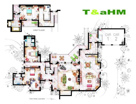 Famous Floor Plans | artsy architectural apartment floor plans from tv shows 9
