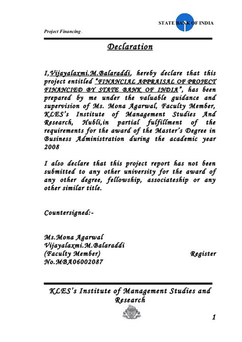 Solvency Certificate Letter To Bank State Bank Of India Project Financing