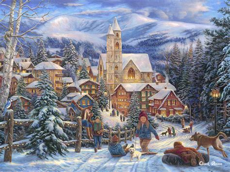 images of christmas paintings sledding to town painting by chuck pinson