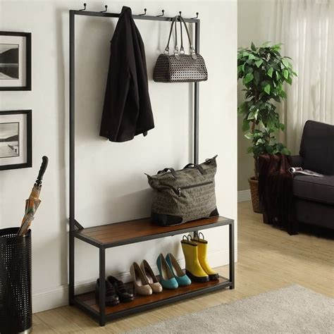 metal coat rack with bench carolina classic nora metal coat rack bench in black cf4016