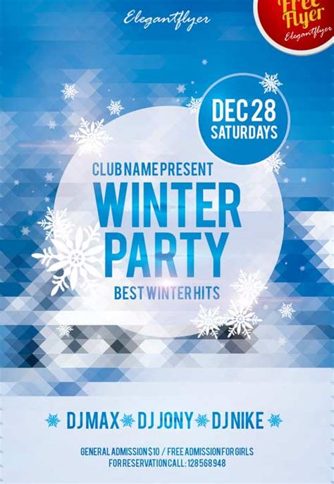 Winter Party Free Club Party Flyer Psd Template Download For Freebie Winter Flyer Template