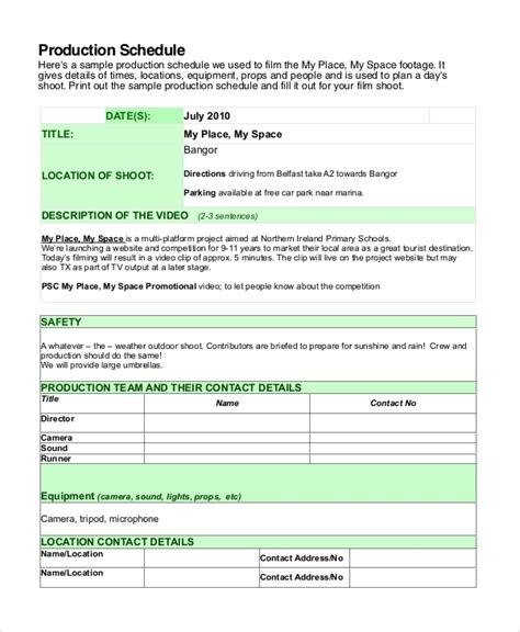documentary production schedule template shooting schedule template 13 free word pdf document