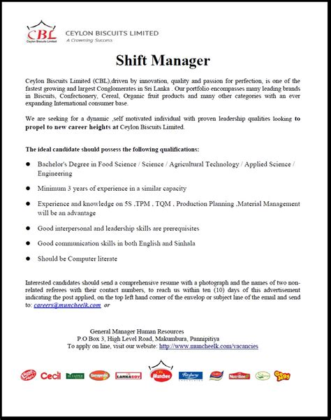 cover letter for shift supervisor position 28 images