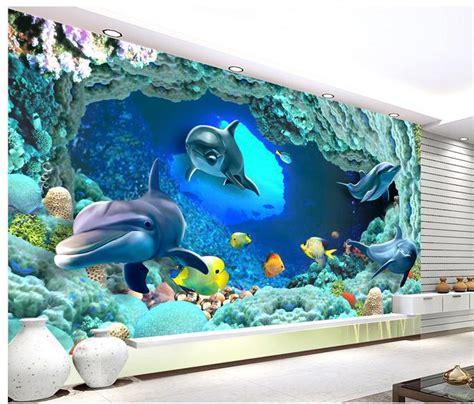Dinosaurs Murals Walls grande mural papel de parede papel de parede 3d golfinhos