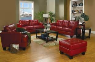 Narrow Loveseat Red Leather Sofa With Ottoman For Small Living Room Spaces
