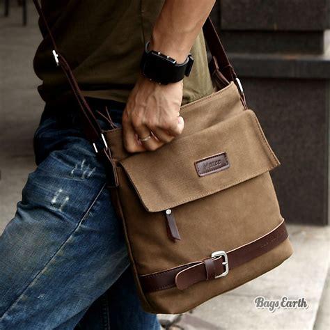 Tas Selempang Messenger Sling Bag Vintage Canvas Frank Bonjour canvas shoulder bag coffee canvas shoulder bag mens bagsearth