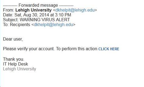 fake email sign in alert library technology services recent phishing exles library technology services