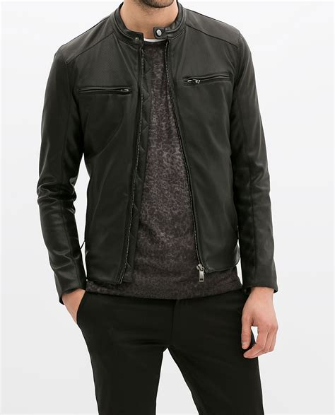 Sweater Murah Zara Mens Bomber Navy zara perforated faux leather jacket in black for lyst