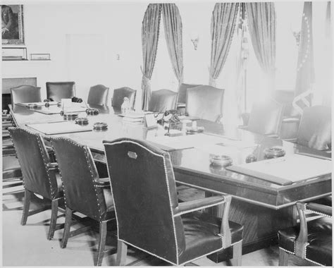 white house cabinet file photograph of the table and chairs in the cabinet room of the white house nara