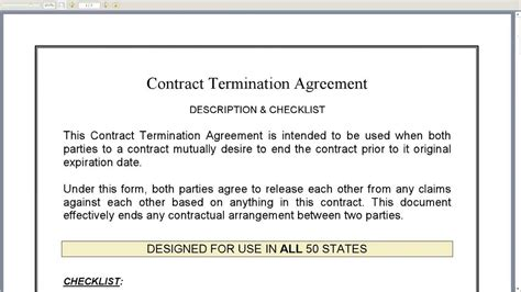 Contract Release Letter Contract Termination Agreement