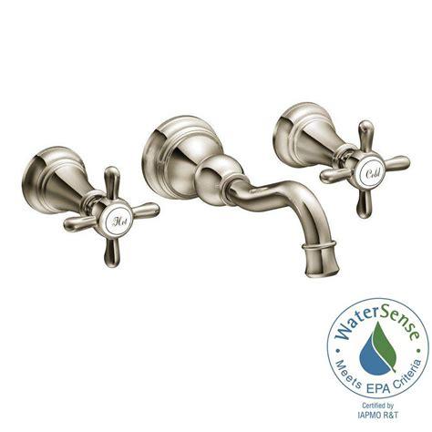 moen wall mount kitchen faucet moen weymouth 2 handle wall mount high arc bathroom faucet