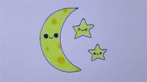 imagenes de la luna kawaii c 243 mo dibujar una luna y estrellas kawaii youtube
