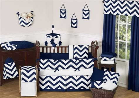 Navy Blue And White Crib Bedding Navy And White Chevron Zigzag Baby Bedding 9pc Crib Set By Sweet Jojo Designs Only 189 99